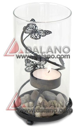 تصویر جاشمعی فانوسی طرح پروانه Butterfly candlestick